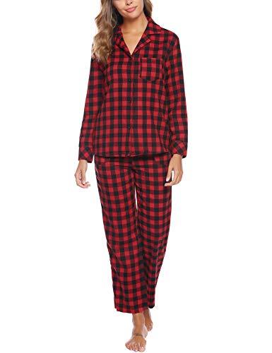 iClosam Damen Schlafanzug Kariert Zweiteilige Pyjama/Langarm Nachtwäsche Knopfleiste/Sleepwear Herbst und Winter/Mode Hausdienst Klassischer Anzug S-XXL