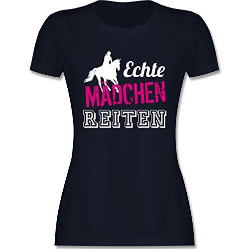 Reitsport - Echte Mädchen reiten - M - Navy Blau - Westernreiten Damen - L191 - Tailliertes Tshirt für Damen und Frauen T-Shirt