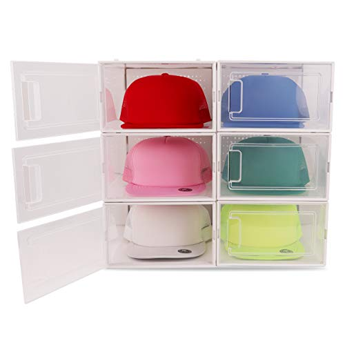 Boxy Concepts Hat Organizer for Baseball Caps (Pack of 6) - Transparent Durable Hat Storage Box with Click-Lock Door and Rear Odor Vents - Hat Holder Box to Keep Caps Tidy and Safely Stored