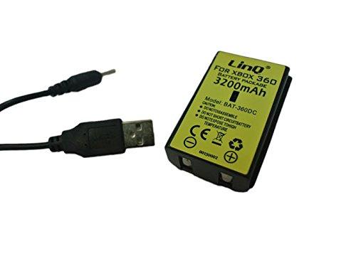 Linq Batería Recargable 3200mAh Mando FOR Xbox 360 + USB Cable Cargador...