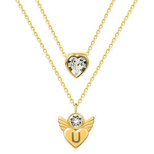 "Love Lies Within Gold Initial Letter Pendant Necklaces Personalized Name Necklace 18K Gold Plated Stainless Steel Jewelry Gifts for Women Teen Girls Set of 2, 15.8"" + 2"""
