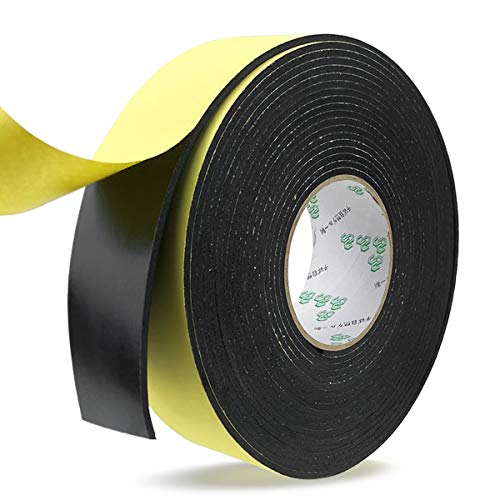 Foam Insulation Tape,Weather Stripping Door Seal Strip for Doors and Windows,Sliding Doors,Pipes,HVAC,Air Conditioning,Seal,Soundproofing,Craft Tape (2In x 1/8In x 33Ft, Black)