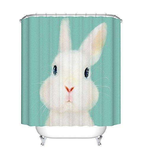 Fangkun Duschvorhang Kunst Badezimmer Dekor Weiße Kaninchen – Wasserdicht Polyester Stoff Bad Gardinen Set – 12 Stück Dusche Haken – 182,9 x 182,9 cm