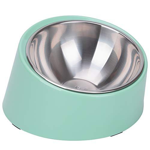 Super Design - Ciotola inclinata a 15°, per cani e gatti, inclinata ad angolo per bulldog, antiscivolo e non fuoriuscite, facile da raggiungere 3 tazze, verde chiaro