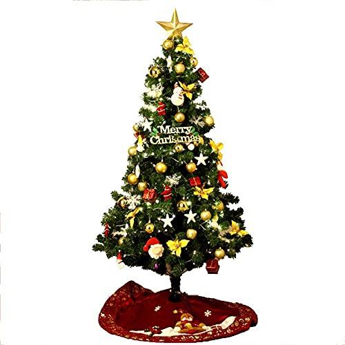 DFJU Albero di Natale con crittografia Ecologica Albero di Natale Artificiale Pre-Illuminato con Decorazioni Natalizie Ornamenti in Metallo Stand-Verde 120 cm (Verde 5FT (150 cm))