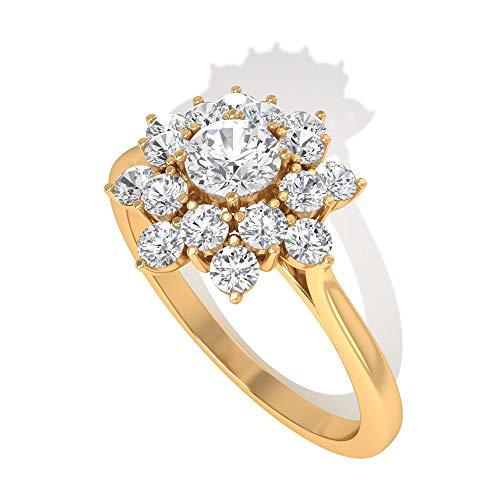 0,48 Karat Diamant IGI zertifizierter Starburst Ring, Halo Verlobungsring, HI-SI Farbe Klarheit Diamant Cluster Ring, Minimal Blume Jahrestag Ring, 10K Gelbes Gold, Size:EU 67