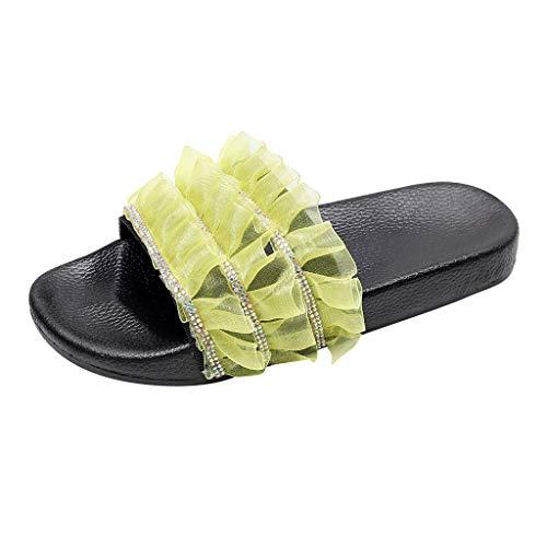 i-uend Damen Lace Crystal Open Toe Sandalen, Outdoor Flache Hausschuhe, lässige Strandschuhe