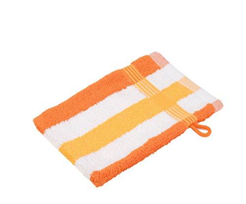 Gözze, lot de 4 gants de toilette rayés blanc, orange et jaune, 17x24 cm , 100% coton, excellente qualité 550 g/m², moelleux et utra doux Standard 100