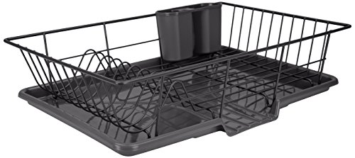 Home Basic 3 Piece Vinyl Coated Steel Dish Drainer Rack, Air Drying and Organizing Dishes, Side Mounted Cutlery Holder, Black