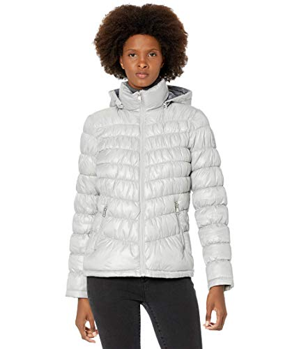 Kenneth Cole New York Hooded Packable Jacket Silver MD
