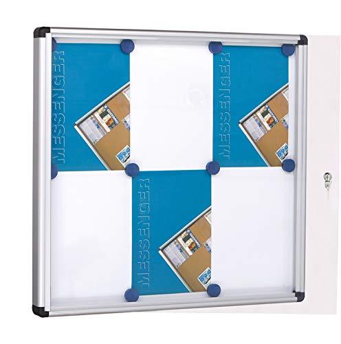Tablero de anuncios con marco de aluminio con cerradura y llaves. Fondo blanco magnético. Contiene 4 hojas A4