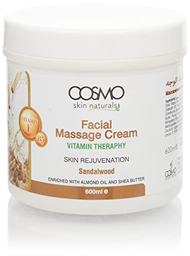 Cosmo Skin Naturals Facial Massage cream Vitamin Therapy For Blemish Free Complexion 20 oz Enriched with Almond Oil and Shea Butter With Vitamin E and B5 (Sandalwood)