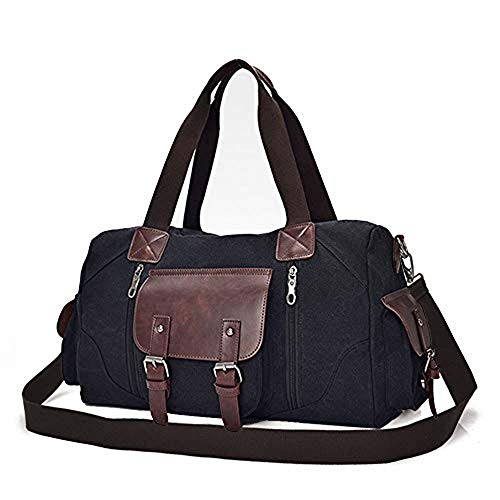 Amazon Black Sales Friday Cyber Sales Monday Ofertas y ventas - Bolsa grande de lona para el hombro, mochila de viaje, bolsa de viaje para mujer y hombre, color Negro, talla Large