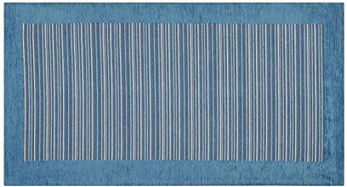 Home Life Alfombra Antideslizante y Resistente a Las Manchas para la Cocina – Moderna Alfombra Lavable Fabricada en Italia –Alfombra Rectangular a Rayas (55x110 cm, Azul)
