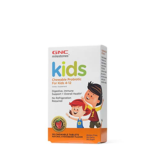GNC Milestones Kids Chewable Probiotic for Kids 4-12, 30 Chewable Tablets, Supports Digestive and Immune System