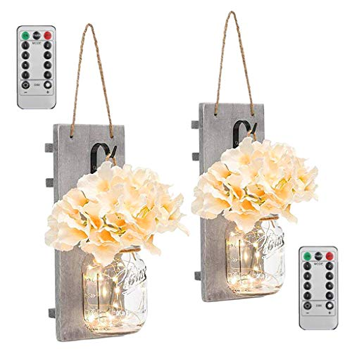 PETSOLA 2Pack Mason Jar Wall Sconce Light with Faux Hydrangea Flower Accent