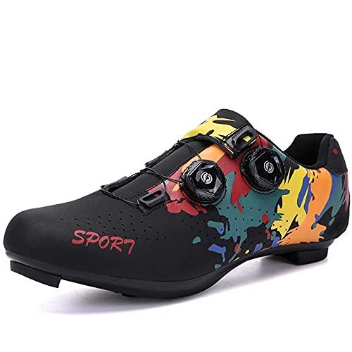 Fei Mei Calzado de Ciclismo Calzado de Bicicleta de Carretera para Hombre con Tacos compatibles Calzado de Mujer con SPD SPD-SL Calzado de Ciclismo Interior para Pedal de Bloqueo