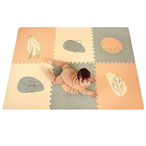 Hakuna Matte große Puzzlematte für Babys 1,8x1,2m – 6 XXL-Platten 60x60cm mit Dschungelmotiven – 20% dickere Spielmatte in Einer recycelbaren Verpackung – schadstofffreie, geruchlose Krabbelmatte