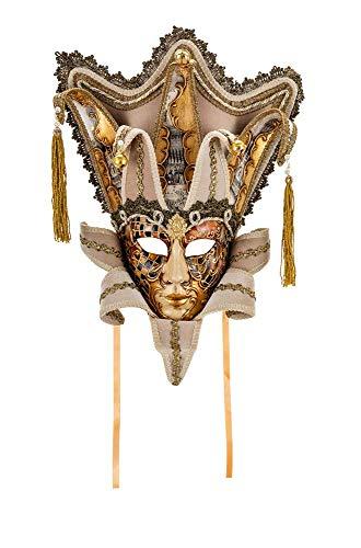 Original venezianische Deko-Maske, handgefertigt - kupfer- und goldfarbenes Aquarelldekor mit Kranz, Spitzen aus Papier und Schleifen. Made In Italy