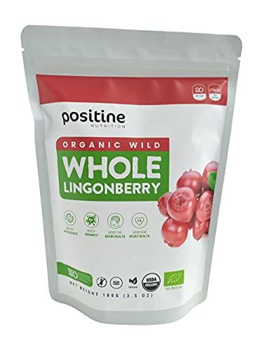 Positine Nutrition Mirtilli rossi selvatici biologici delle foreste nordiche, mirtillo rosso liofilizzato al 100% con frutti interi, 100 g, senza zuccheri aggiunti, Superberry nordico puro