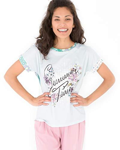 Smash! Camiseta Veraniega con Estampado de Texto Posicional y Geomérico Camiseta de Manga Corta y Cuello Redondo para Mujer de Verano T-Shirt Leslie