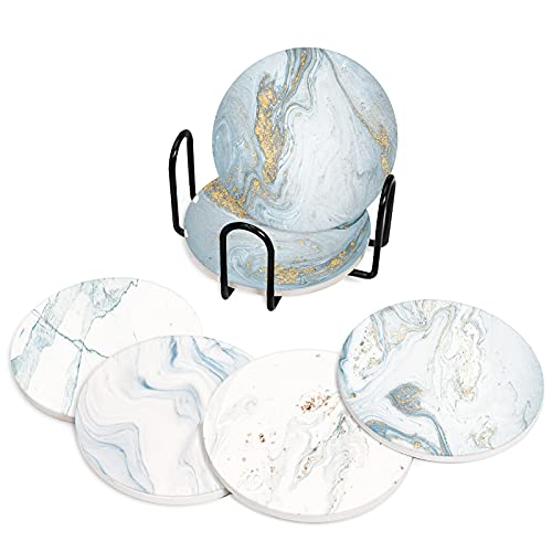 Emvency Coasters for Drinks Set of 6 ,Natural incorporates Swirls Marble Abstract Coaster,Birthday Housewarming Gift, Living Room Coffee Table Apartment Kitchen Room Bar Décor