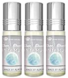 Set de 3 Almizcle Musc WHITE MUSK Al Rehab 6ML Perfumes de Mujer Perfumes Hombre Attar Perfume Sin Alcohol 100% de Aceite Almizcle Oud Roll on NOTAS: Almizclado, Animal, Ámbar