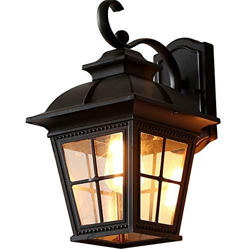 Yangmanini Europeo Pared Impermeable al Aire Libre Cuadrada de fundición de Aluminio Jardín Terraza Pared Lámpara de luz Puerta del Pasillo del Patio Interior y Exterior 41 * 23 * 12cm