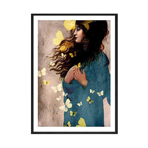 JLFDHR Chica de Pelo Largo Estilo Abstracto Realista Lienzo Pintura Mariposa Arte impresión Cartel Imagen Pared Sala de Estar hogar-60x90cmx1 sin Marco