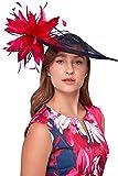 Roman Originals Tocado de disco floral con plumas de contraste grande, para mujer, para ocasiones especiales, bodas, invitados, madres, novios, etc. -  Rosa -  Talla única