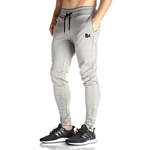 BROKIG Mens Zip Joggers Pants - Casual Gym Fitness Trousers Comfortable Tracksuit Slim Fit Bottoms Sweatpants with Pockets (Large, Heather Grey)