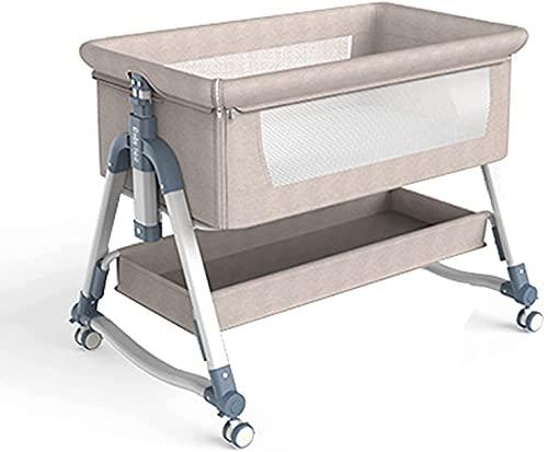 Cuna de Colecho Bebé Cuna del bebé de noche cama cuna, 5 niveles ajustables de cuna de viaje, Cuna portátil recién nacido con la rueda / cesta del almacenaje, cama plegable Fácil for el recién nacido
