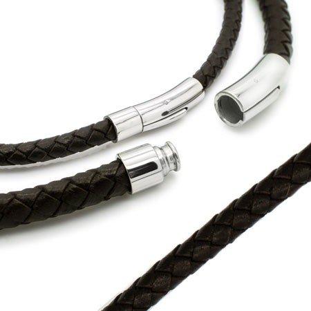 SoulCats® geflochtene Lederkette mit Edelstahl Hebeldruckverschluss schwarz braun Leder, Farbe:dunkelbraun;Auswahl:Stärke 6 mm;Länge:38 cm