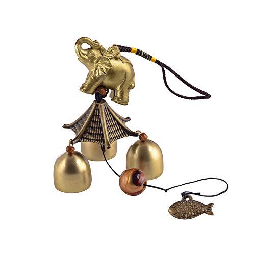 YODOOLTLY Glückliches Windspiel - Feng Shui Windspiel Outdoor Glücksbringer Hänger mit 3 Metallglocken Windglocken für Garten, Haus, Terrasse, Hof (Elefant)