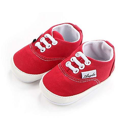 Zapatillas bebé, Primeros Pasos. Suela Antideslizante. para niños y niñas de 13 a 18 Meses. (Rojo)
