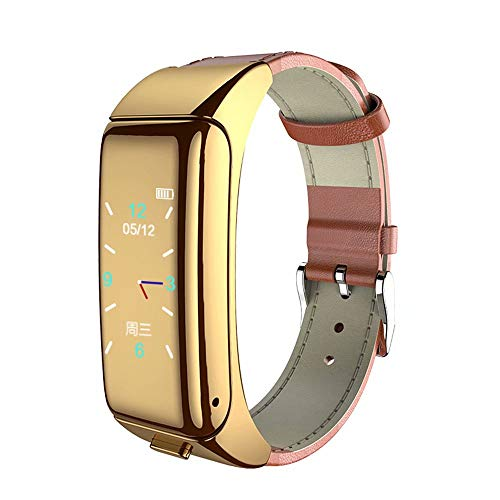 TAOYATAO Reloj inteligente impermeable con monitor de frecuencia cardíaca, monitor de actividad con contador de pasos, contador de calorías, podómetro (B6 cuero marrón)