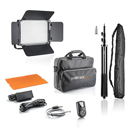 Walimex pro LED Niova 900 Plus Daylight + WT-806 Lampenstativ – Set aus Tageslicht-LED-Flächenleuchte + Lampenstativ, 54W, 5600K, 6500LM, CRI 97Ra, DMX,...
