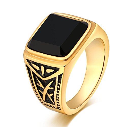 Adisaer Gold Ringe Herren Edelstahlring Gold Gothic Punk Herren Ring Schwarze Zirkonia Totem Breite 15 Mm Ringgröße 57 (18.1) Party Ring Kostenlos Gravur