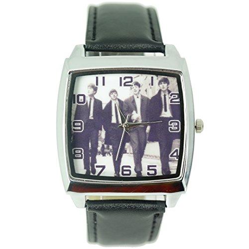 Reloj de pulsera Taport con diseño de The Beatles de cuarzo cuadrado, con malla de cuero real, batería de repuesto y bolsa de regalo