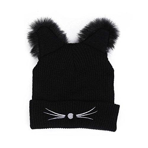 QinMM Sombrero De Punto De Lana De Oreja De Gato De Mujer, Holgado CáLido Invierno De Ganchillo Gorro De Esquí Slouchy Tapas Hat