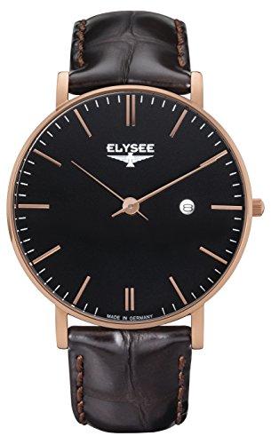 Herren Armbanduhr ZELOS von Elysee Uhren, Herren Uhr mit braunem Lederarmband, roséfarbenem Gehäuse und schwarzem Ziffernblatt, robustes analoges Quarz-Uhrwerk mit Datumsanzeige und 2 Jahren Garantie
