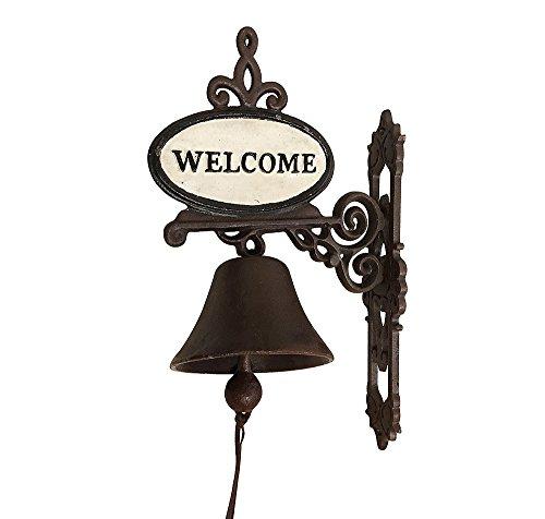 zeitzone Türglocke Welcome Glocke Nostalgie Gusseisen Landhausstil Antik-Stil Braun
