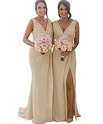 Women's Double V Neck A Line Formal Long Pleated Slit Chiffon Bridesmaid Dress Long Simple Evening Dresses Champagne US10