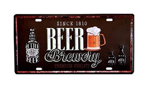 MR Placa de matrícula Vintage Motivo Beer, Cerveza, Brewery, 30 X 15 cm