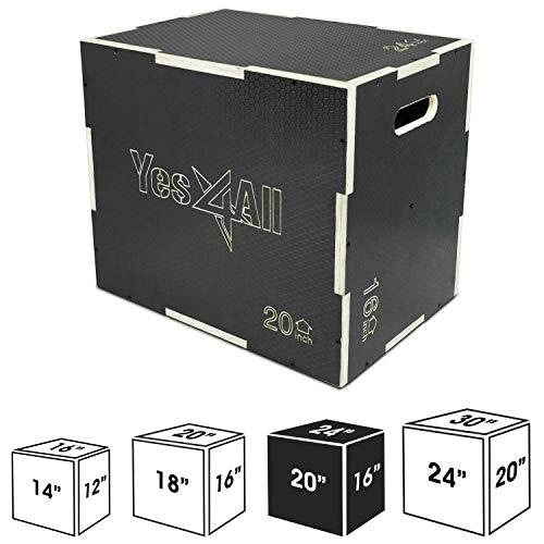 "Yes4All Non-Slip Wooden Plyo Box 24"" 20"" 16"" - Black"