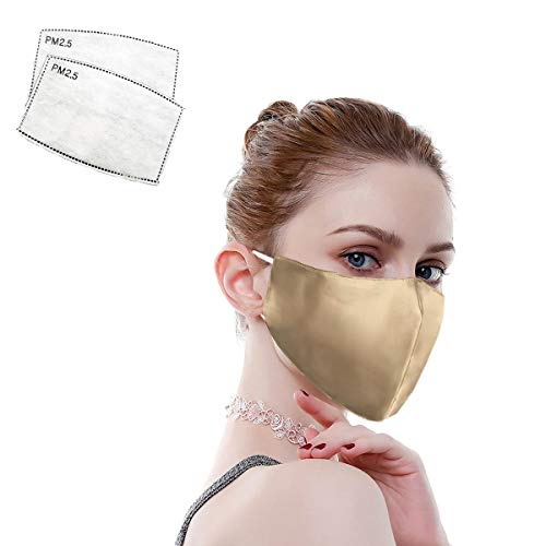 100% Mulberry Silk Face Masks Fashion 19 Momme Silk Mask for Sensitive Women (Gold)