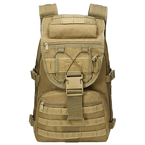 Tactical Backpack Military Grade Waterproof Tear Resistant Material Large Survival Rucksack Multifunction MOLLE Assault Bag for Various Outdoor Sports Adlereyire ( Color : Khaki , Size : 31*18*45cm )