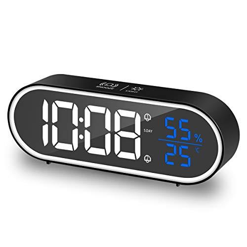 HOMVILLA Sveglia Digitale, sveglia da comodino con LED Temperatura, Snooze, Doppio allarme 40 suonerie per camera da letto, comodino, soggiorno, ufficio, viaggi(Nero)