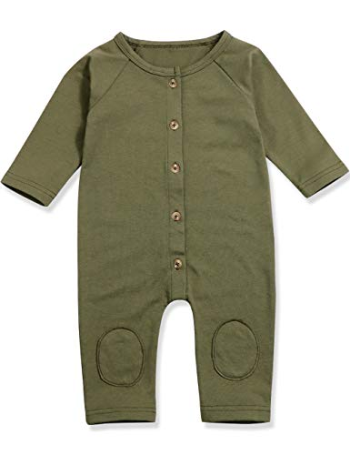 Walsoner Infant Baby Boy Girl Long Sleeve Romper Jumpsuit with Bottons Playsuit Bodysuits Outfit Clothes (0-3 Months)