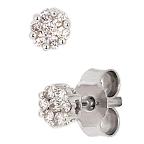JOBO Ohrstecker 585 Weißgold 14 Diamant-Brillanten 0,15ct. Gold-Ohrringe